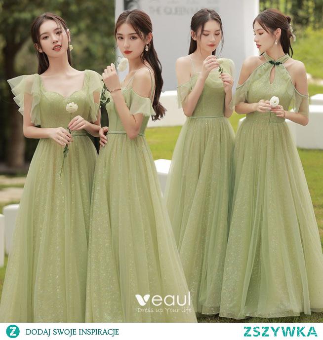 Proste / Simple Szałwia Zielony Sukienki Dla Druhen 2021 Princessa Cekiny Kótkie Rękawy Bez Pleców Długie Sukienki Dla Druhen