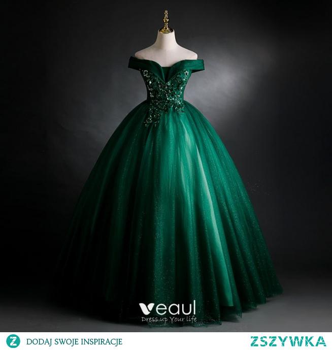 Eleganckie Ciemnozielony Sukienki Na Bal 2021 Suknia Balowa Przy Ramieniu Frezowanie Cekiny Z Koronki Kwiat Bez Rękawów Bez Pleców Długie Sukienki Wizytowe
