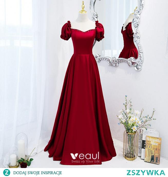 Piękne Burgund Sukienki Na Bal 2021 Satyna Princessa Kwadratowy Dekolt Frezowanie Wzburzyć Kótkie Rękawy Bez Pleców Długie Sukienki Wizytowe