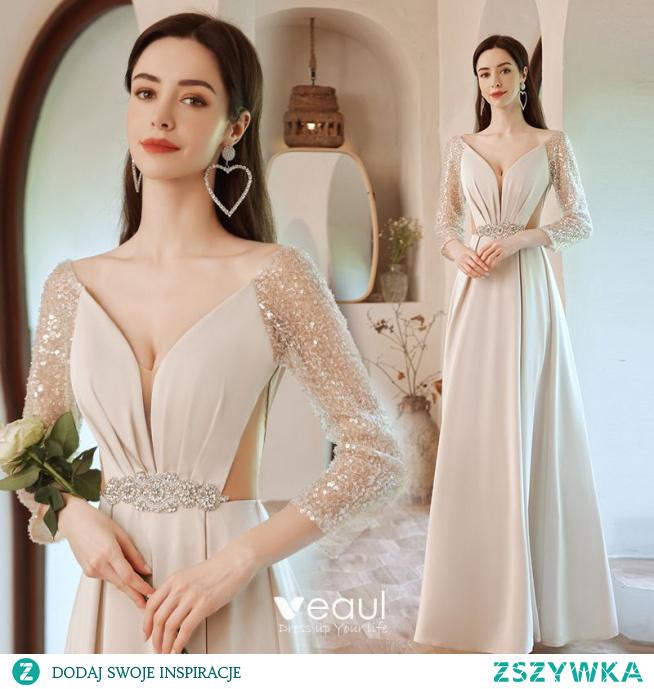 Uroczy Beżowe Frezowanie Cekiny Sukienki Na Bal 2021 Princessa V-Szyja Perła Rhinestone Szarfa 3/4 Rękawy Bez Pleców Długie Bal Sukienki Wizytowe