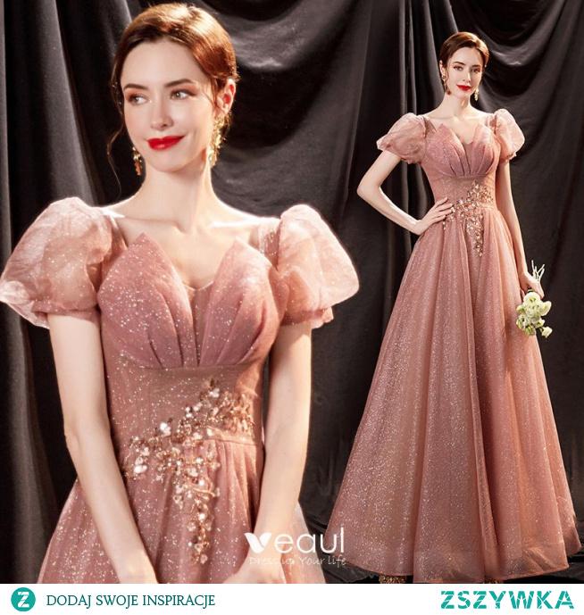 Błyszczące Cukierki Różowy Cekinami Cekiny Sukienki Na Bal 2021 Princessa V-Szyja Aplikacje Kótkie Rękawy Bez Pleców Długie Sukienki Wizytowe
