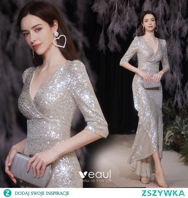 Błyszczące Seksowne Srebrny Cekiny Sukienki Wieczorowe 2021 Syrena / Rozkloszowane V-Szyja 1/2 Rękawy Długie Wieczorowe Sukienki Wizytowe