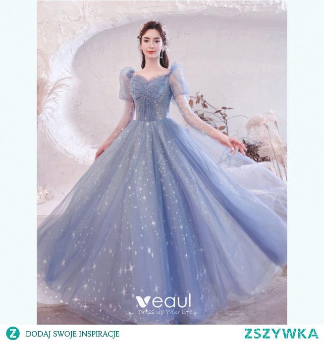 Uroczy Błękitne Sukienki Na Bal 2021 Princessa Wzburzyć Kwadratowy Dekolt Frezowanie Gwiazda Cekiny 3/4 Rękawy Bez Pleców Długie Sukienki Wizytowe