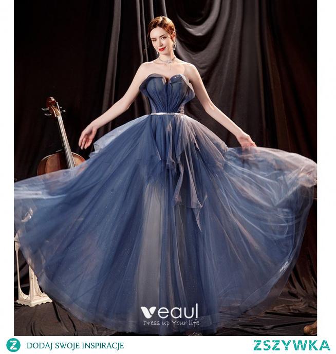 Piękne Ciemnoniebieski Sukienki Na Bal 2021 Princessa Bez Ramiączek Rhinestone Szarfa Bez Rękawów Bez Pleców Długie Sukienki Wizytowe