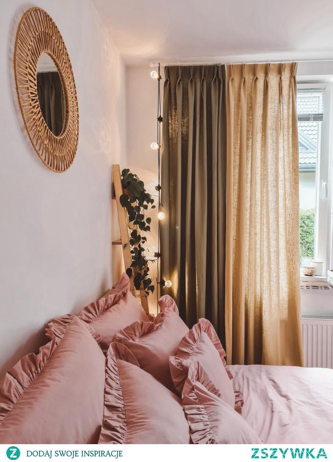 Piękne lniane zasłony szyte na wymiar -->> znajdziesz w Nasze Domowe Pielesze  Pościel: Słodkie Sny (falbanka w kolorze brudny róż)
