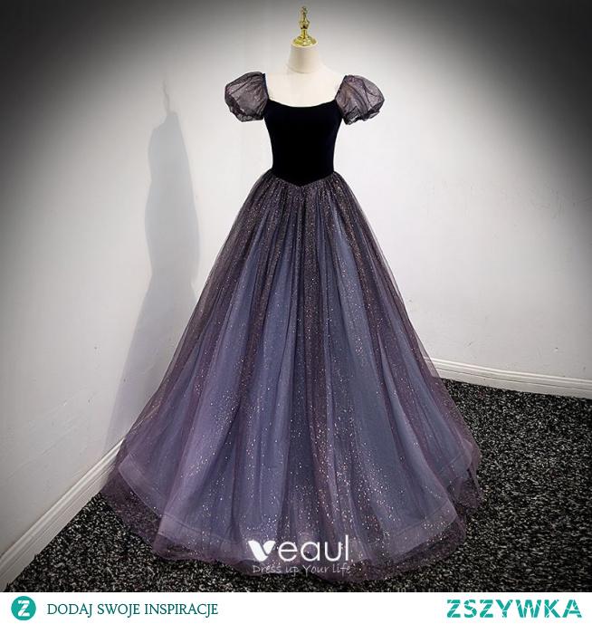 Błyszczące Czarne Księżniczki Sukienki Na Bal 2021 Kwadratowy Dekolt Cekiny Rękawy z Kapturkiem Bez Pleców Długie Bal Sukienki Wizytowe