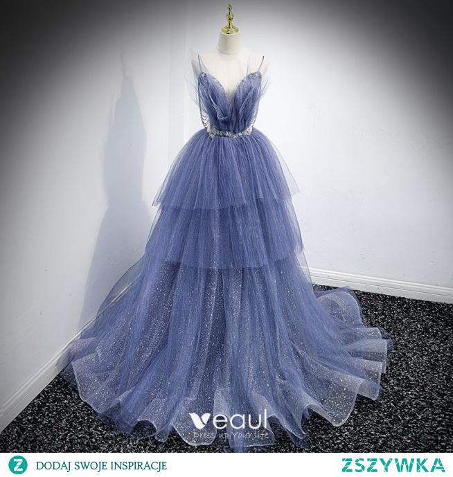 Uroczy Błękitne Kaskadowe Falbany Sukienki Na Bal 2021 Princessa Spaghetti Pasy Frezowanie Rhinestone Cekiny Bez Rękawów Bez Pleców Trenem Sweep Bal Sukienki Wizytowe