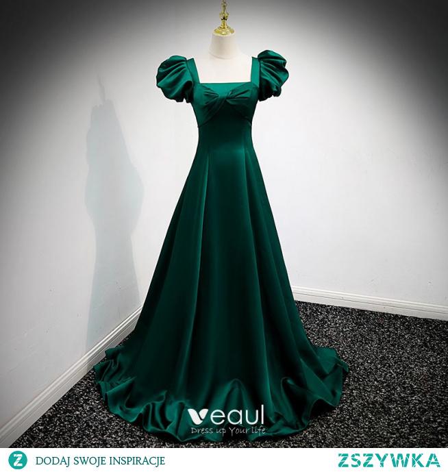 Vintage Ciemnozielony Satyna Sukienki Na Bal 2021 Princessa Kwadratowy Dekolt Bufiasta Kótkie Rękawy Bez Pleców Długie Bal Sukienki Wizytowe