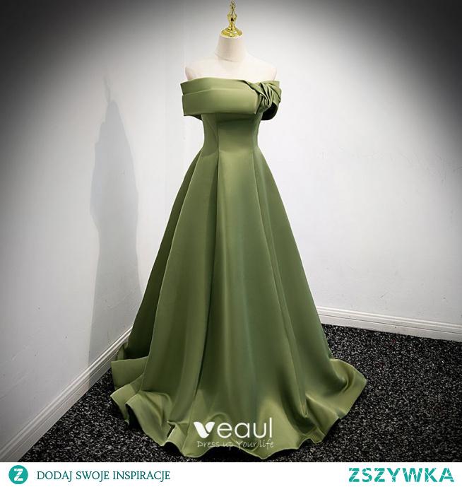 Proste / Simple Koniczyna Zielony Satyna Sukienki Na Bal 2021 Princessa Przy Ramieniu Kótkie Rękawy Bez Pleców Trenem Sweep Bal Sukienki Wizytowe