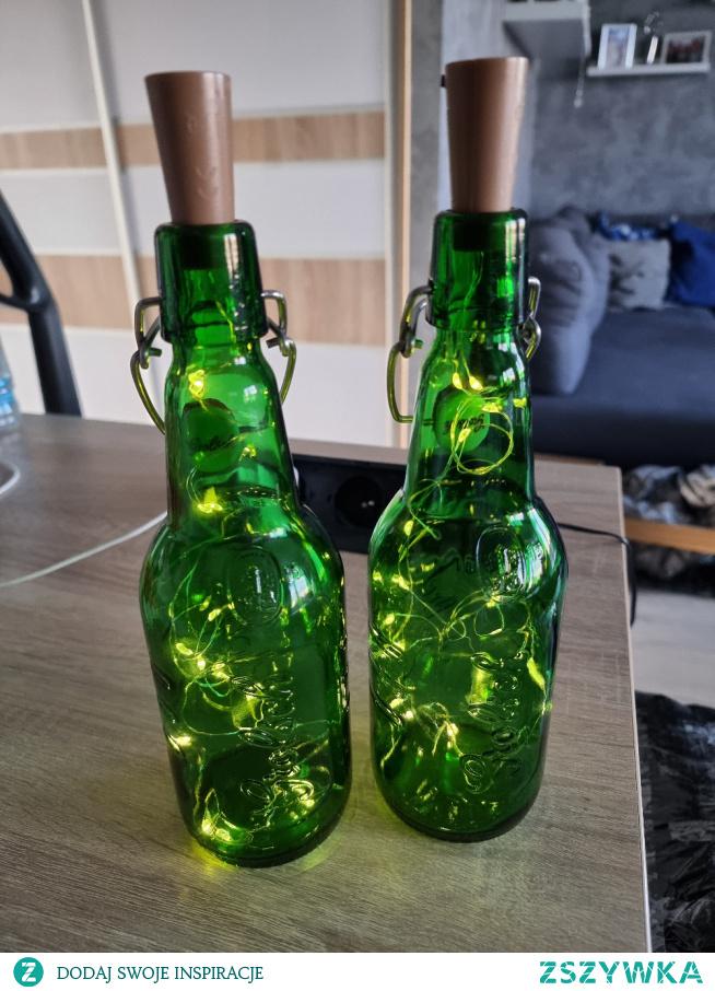 lampka - butelka + światełka