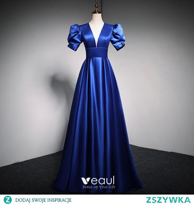 Vintage Królewski Niebieski Sukienki Na Bal 2021 Princessa V-Szyja Bufiasta Kótkie Rękawy Bez Pleców Długie Satyna Sukienki Wizytowe