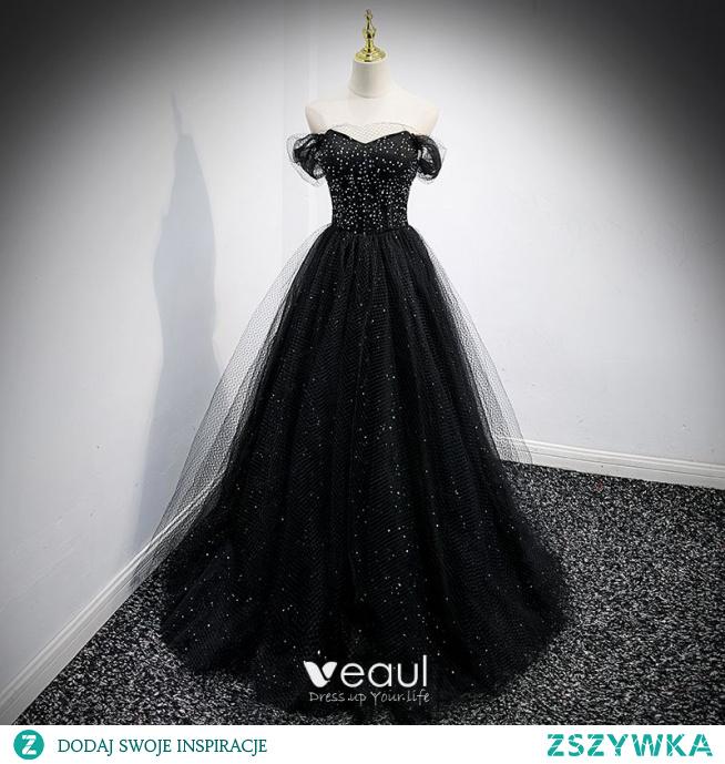 Uroczy Czarne Cekiny Sukienki Na Bal 2021 Princessa Przy Ramieniu Kótkie Rękawy Bez Pleców Długie Bal Sukienki Wizytowe