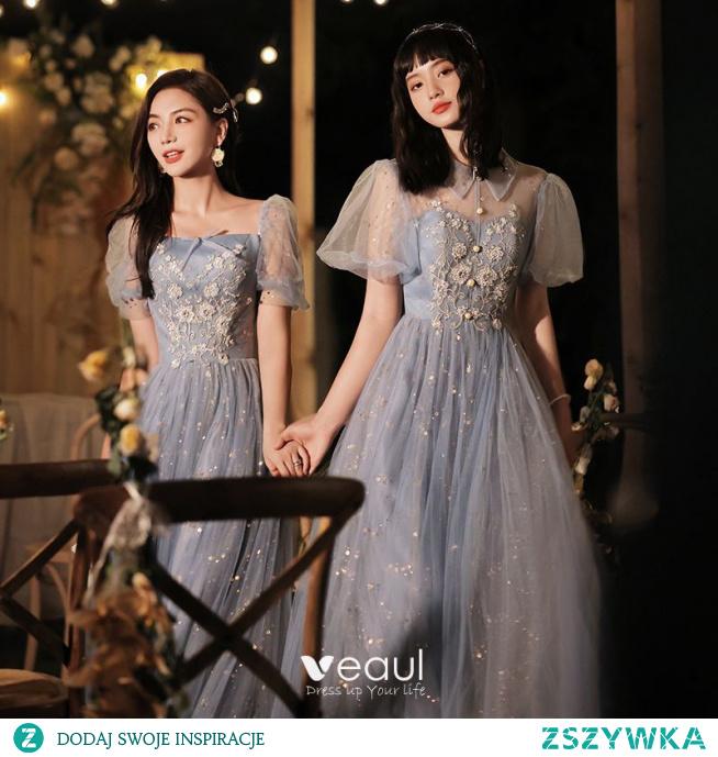 Moda Błękitne Frezowanie Cekiny Sukienki Dla Druhen 2021 Princessa Perła Rhinestone Kótkie Rękawy Bez Pleców Długie Sukienki Na Wesele