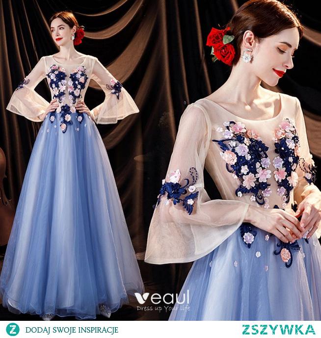 Wróżka Kwiatowa Błękitne Perła Z Koronki Kwiat Aplikacje Sukienki Na Bal 2021 Princessa U-Szyja Rękawy z dzwoneczkami Bez Pleców Długie Sukienki Wizytowe