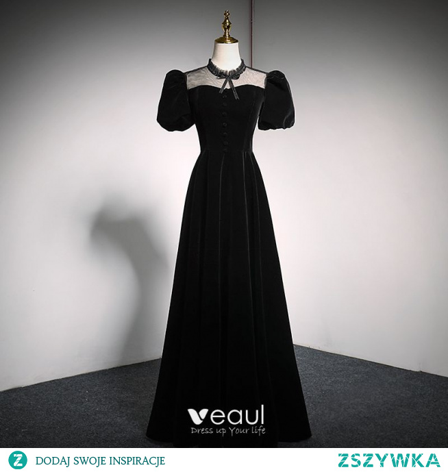 Eleganckie Czarne Zamszowe Sukienki Na Bal 2021 Princessa Wysokiej Szyi Kokarda Bufiasta Kótkie Rękawy Bez Pleców Długie Sukienki Wizytowe